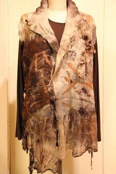 nuno felted, wet felted, eco printed, eco dyed, seamless felted garment, seamless nuno felt