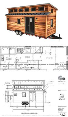 The Cider Box Tiny House: modern tiny house plans for a sleek tiny house on wheels. Two lofts, full kitchen, laundry machines - all the comforts of home. Tiny House Stairs, Building A Tiny House, Tiny House Cabin, Tiny House Living, Tiny House Plans, Tiny House On Wheels, Loft Stairs, Tiny House Trailer Plans, Bus House