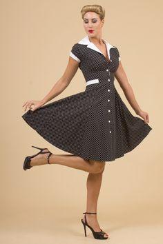 The Black Dot Diner Dress - Jurken - Kleding