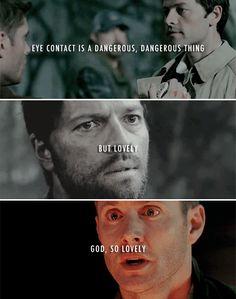 Eye contact is a dangerous, dangerous thing #spn #destiel