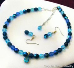 Aqua Aurora borealis Czech Glass Crystals Necklace and Earring Set - Note: Blue is The It Color for 2014! #sophiamariajewelry