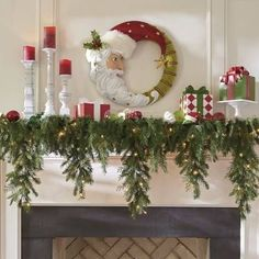 Indoor Christmas Decorations, Christmas Mantels, White Christmas, Christmas Fun, Christmas Wreaths, Christmas Ornaments, Decorating For Christmas, Christmas Villages, Christmas Fireplace Garland