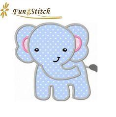 Elephant applique machine embroidery design via Etsy