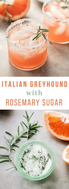 Italian Gin Greyhound Cocktail with Rosemary Sugar: A refreshing pink gin Italian greyhound cocktail made with red or pink grapefruit juice, Aperol liqueur and a rim of fresh rosemary sugar. drink cocktails Italian Greyhound Cocktail with Rosemary Sugar Cocktail Gin, Grapefruit Cocktail, Grapefruit Juice, Rosemary Cocktail, Grapefruit Ideas, Sparkling Lemonade, Triple Sec, Party Drinks Alcohol, Alcoholic Drinks