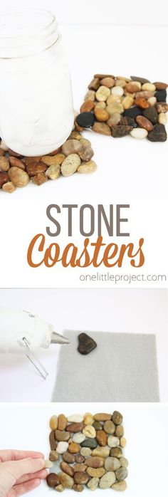 These stone coasters are SO CUTE and they are so easy to make! Such a fun and simple dollar store craft idea!!