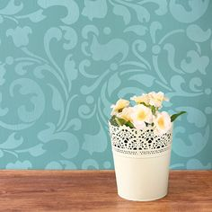 Painting Tables and Dressers with Moroccan Allover Swirl Furniture Stencils - Royal Design Stuido