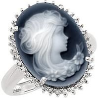 #Jewelry #Rings Black Agate Cameo and Diamond 14k White Gold Ring