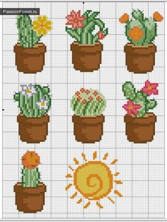 44 Ideas embroidery patterns cross stitch flowers charts for 2019 Cactus Cross Stitch, Mini Cross Stitch, Cross Stitch Designs, Cross Stitch Patterns, Cross Stitch Flowers Pattern, Cross Stitching, Cross Stitch Embroidery, Diy Embroidery, Flower Chart
