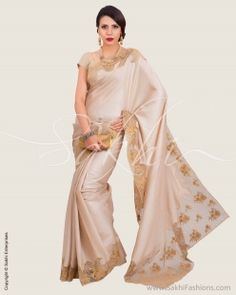 Beige & Blue Pure Tussar Silk Saree