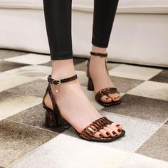 Sandals Women's Chunky High Heel New Open Toe Sandals Women Mid Heel Sandals, Open Toe Sandals, Slide Sandals, High Heels For Prom, High Heels Stilettos, Heels Outfits, Sandals Outfit, Snake Patterns, Chunky High Heels