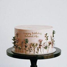 Pretty Birthday Cakes, Pretty Cakes, Cute Cakes, Beautiful Cakes, Amazing Cakes, Flower Birthday Cakes, Cake Cookies, Cupcake Cakes, Korean Cake