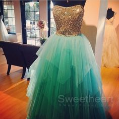 Sweetheart Girl | Custom Made Gold Sequin Long Green Prom Gown, Prom Dress | Online Store Powered by Storenvy