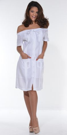 Guayabera Dress  off the shoulder sleeve for ladies (LDC3100-3380)  - Linen guayabera Dress off the shoulder.  Dry clean for best result. Do not bleach  Tradtional Cuban tucks and 4 pocktes guayabera   Available in Ivory, Lava, Red, Lavander, Navy, Red, White  Availability is subject to change