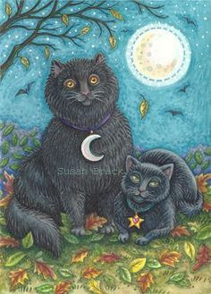 BUBO AND PYEWACKET - This is a folk style painting of my very own cats I call Bubo and Pyewacket.  Lots of black cat magic going on.  Susan Brack Original Illustration Halloween Holiday EBSQ EHAGart EHAG Art  I have more available for licensing.