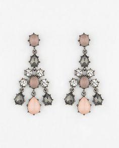 Cabochon+Gem+Chandelier+Earrings