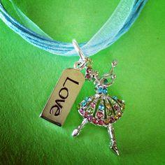Sporty Girl Ballerina Love Ribbon Necklace by SportyGirlBoutique, $15.00