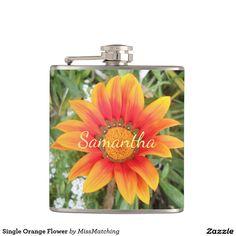 Single Orange Flower Personalized Hip Flask