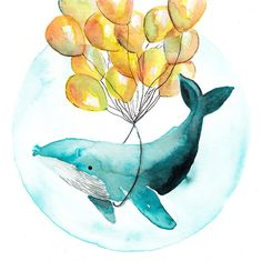 Original watercolor illustration. Magic whale with balloons. Super cute art. Fine art . Ocean and cetaceans. by CasalsJuanola on Etsy