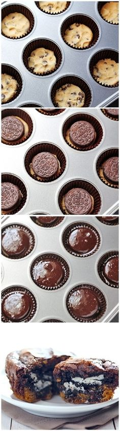 cookglee recipe pictures: Cookie-Stuffed Brownie Cupcakes