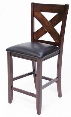 Our X Back Pub Stool features all wood construction with dark leather cushioned seating for maximum