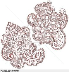 Pasiley Mandala Flower Doodles Vector
