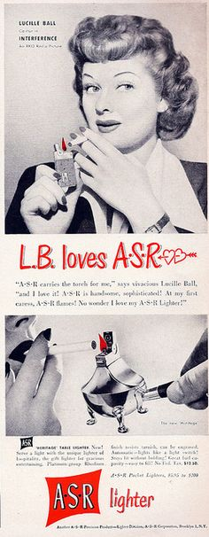 ASR LIGHTERS - magazine ad featuring Lucille Ball - promotes Ms. Ball's  co-starring role in the RKO-Radio Picture motion picture, 'Interference'