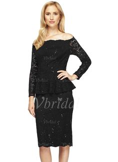 Mother of the Bride Dresses - $115.94 - Off-the-Shoulder Knee-Length Lace Mother of the Bride Dress (0085119795)