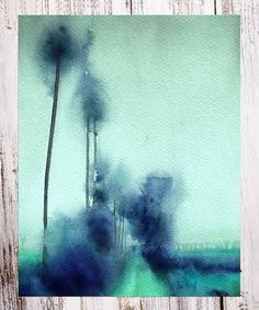 Another great find on #zulily! Blue Palms in the Rain Watercolor Art Print #zulilyfinds