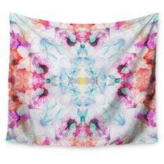 "Pink Blue Danii Pollehn Hibiscus Kaleidoscope Wall Tapestry (51""x60"") - Kess InHouse, Green"