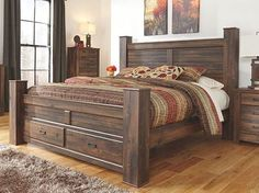 Quinden King Poster Bed by Signature Design by Ashley. Get your Quinden King Poster Bed at Furniture Source, Clive IA furniture store. City Furniture, Pallet Furniture, Bedroom Furniture, Furniture Mattress, Furniture Factory, Furniture Outlet, Wolf Furniture, Furniture Design, Cabin Furniture