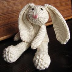 Rabbit (As Little Sewing As Possible) pattern by Anna Travis OMG . ALSAP Rabbit (As Little Sewing As Possible) by Anna TravisOMG . ALSAP Rabbit (As Little Sewing As Possible) by Anna Travis Knitted Stuffed Animals, Knitted Bunnies, Knitted Animals, Knitted Dolls, Knitted Doll Patterns, Knitting For Kids, Free Knitting, Knitting Projects, Baby Knitting