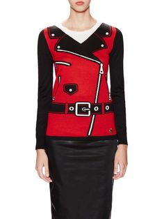 Crewneck Intarsia Motorcycle Sweater by Love Moschino at Gilt