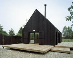 simple building, cool idea for a guest house/rental cabin on the back side of the land, by the creek.