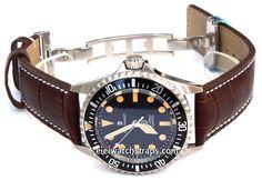 Dark Brown Alligator Grain Padded Leather Watchstrap on Deployment Clasp For Steinhart Watches