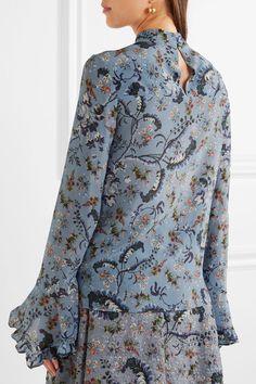 Erdem - Lindsey Floral-print Silk Crepe De Chine Blouse - Blue