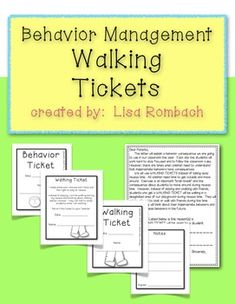 Walking Tickets for Behavior Management (an alternative to taking away recess) Includes 3 versions of the tickets (4 tickets on a page), 3 versions of a parent letter and teacher's notes describing the program. $