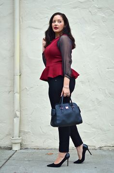 Love the color of this peplum top - love peplum, though hard to find a good fit with a long torso!