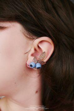 Handmade copper and polymer clay blueberry ear cuff https://www.etsy.com/listing/485346725/left-ear-cuff-non-pierced-copper-jewelry