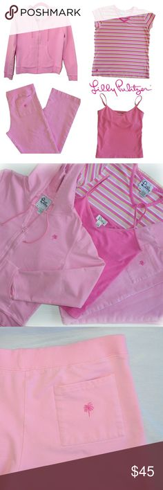 """LILLY PULITZER Track Suit Bundle! Whether your set for a day of lounging or heading to the gym, this cute & comfy Lilly Pulitzer tracksuit bundle is for you!  Comes with: (S) Hoodie:  Zip front. Drawstring hood. Front pockets. Embroidered pink palm logo. Lenght: 20"""" Chest 17.5""""  (S) Pants:  Elastic waist with drawstring. Back pocket with embroidered palm logo. Inseam 27"""" Waist 29""""  (S) Cami Tank: Adjustable spaghetti straps. Shelf bra. V-neck.  Bonus* (size M) T-shirt: pink, green, & white…"""