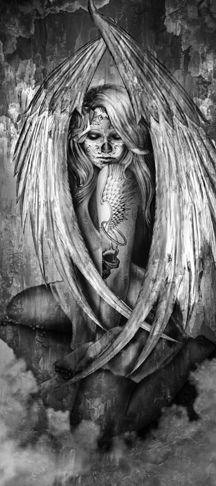 Sleeve Tattoos, Body Art Tattoos, Skull Tattoos, Wing Tattoos, Dark Fantasy Art, Dark Art, Dark Angel Tattoo, Fallen Angel Tattoo Sleeve, Guerrero Tattoo