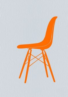 Eames Fiberglass Chair Orange Poster by Naxart Studio. All posters are professionally printed, packaged, and shipped within 3 - 4 business days. Choose from multiple sizes and hundreds of frame and mat options. Diy Chair, Chair Fabric, Chair Cushions, Swivel Chair, Metal Chairs, Cool Chairs, Leather Chairs, Bauhaus, New Furniture
