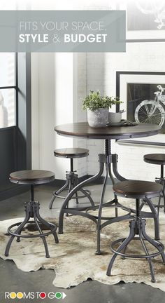 Create an industrial chic look in your dining space with the cool, factory inspired style of the Industry Place dining set. Visit Rooms To Go now, and see more dining room sets that will fit your style and budget! Black Floating Shelves, Floating Shelves Bathroom, Rustic Floating Shelves, Industrial Interiors, Industrial Chic, Industrial Industry, Industrial Closet, Industrial Dining, Industrial Bedroom
