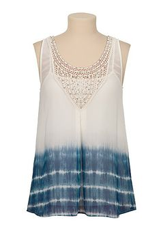 Chiffon Tie dye Tank with sequins (original price, $29) available at #Maurices
