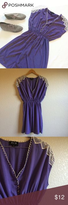 213 by Michelle Kim • Dress This pretty purple dress has crochet details at the shoulders. The buttons at the neck are a little loose and may need to be resewn at some point. 213 by Michelle Kim Dresses