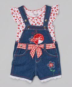 Another great find on #zulily! Red Ladybug Top & Blue Denim Shortalls - Toddler & Girls #zulilyfinds