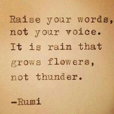 Raise your words, not your voice.  It is the rain that grows the flowers, not thunder.  - Rumi - Quote - Good Advice -