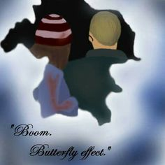"""Autorskie I'm an author.  Until Dawn // ChrisxAshley,  Christopher and Ashley GIMP painting.  """"Boom. Butterfly effect."""""""