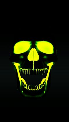 Reverse paint a skull. Pay t skull black, paint eyes, nose, inside of mouth, with UV reactive or glow in the dark paint. Skull Wallpaper, Neon Wallpaper, Skull Pictures, Skull Artwork, Skull Tattoos, Skull And Bones, Iphone Wallpapers, Dark Art, At Least