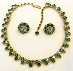 Crown Trifari Emerald, Peridot and Aurora Borealis Rhinestone Demi Parure