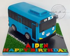 Celebrate with Cake! 5th Birthday Cake, 2nd Birthday Parties, Boy Birthday, Bus Cake, Tayo The Little Bus, Fondant Toppers, Cakes For Boys, Cake Art, Cake Designs